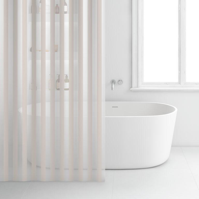 Rayen Rideau de salle de bain – 180 x 200 cm – 2350.18 – Blanc&beige